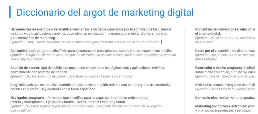 Glosario de la jerga de marketing digital